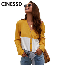 CINESSD Women Sweaters V Neck Long Sleeves Patchwork Lace Up Blue Button Cardigan Autumn Casual Tops Lady Knitted Sweater Coats