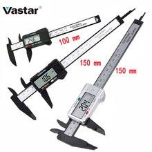 Vastar 150 ミリメートル 100 ミリメートル 6 インチ電子デジタルノギスカーボンファイバーノギスゲージマイクロメータ測定ツールデジタル定規