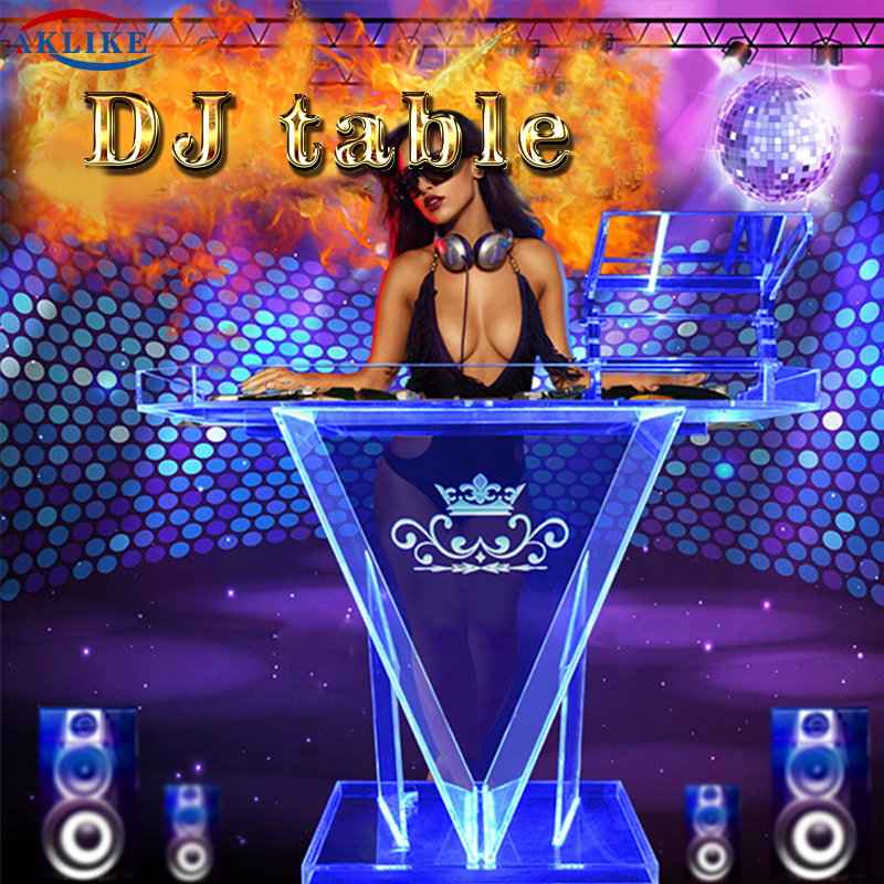 Led Cabina Dj Table Mesa Para Light Dj Stand Facade Mixer Aklike Controller Acrylic Dj Booth Bar Furniture Desk Customized Logo