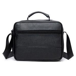 Image 2 - New Men Leather Handbag Zipper men Business bag Black Male Bag Shoulder bags Messenger bags mens briefcases bag Crossbody bag