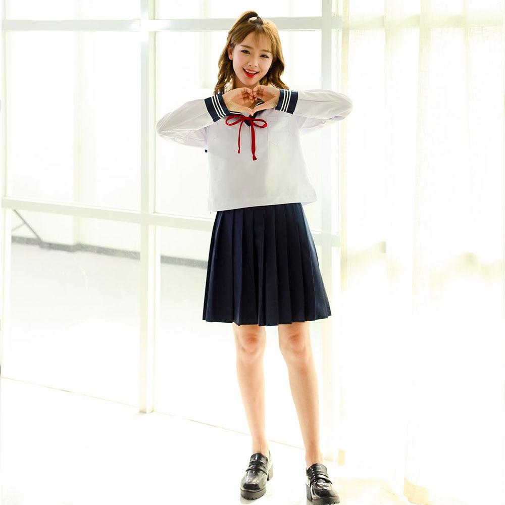 JK Three Lines Sailor Suit COS Uniform Suit Long Sleeve Japanese Korean University Style College Kansai Short Skirt