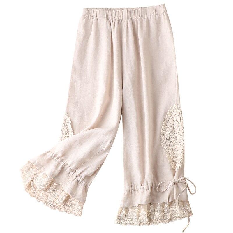 Shuchan Loose Pants Women French Linen  Women Bottoms Pants  Pijamas Women 2021 Sleepwear Pant Women