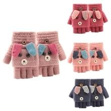 Fingerless Mittens Top-Gloves Convertible Winter Warm Children Cartoon Flip M6CD Flap-Cover