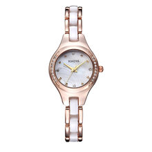 xiaoya Brand Diamond Hours clock female Ladies full steel Silver Dress Women girl Quartz Watches Bracelet Wristwatch(China)