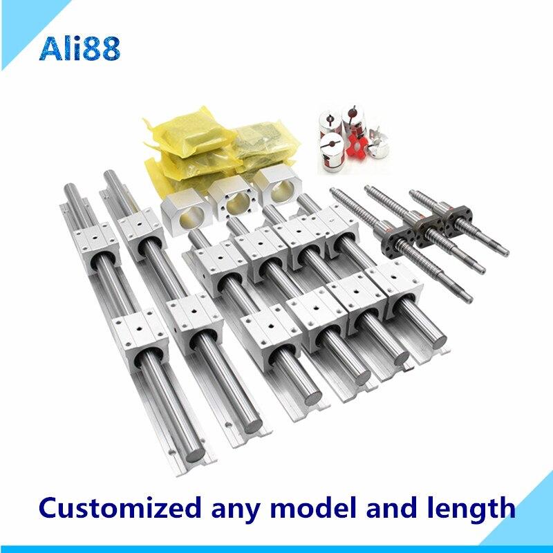 Jeu de rails linéaires 16mm: vis à billes SFU1605 avec machine d'extrémité + guide linéaire SBR16 avec bloc de roulement linéaire SBR16UU CNC pièces d'axe z