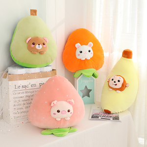 Image 4 - High Quality 3 in 1 Avocado Plush toy Stuffed Brown Bear Toy in Avocado Pillow with Coral fleece Blanket side School Nap Pillow