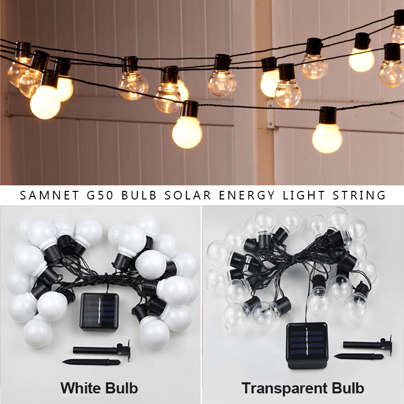 Outdoor Garland Street LED G50 Bulb Solar Energy String Light As Christmas Decoration Lamp For Home Indoor Holiday Lighting