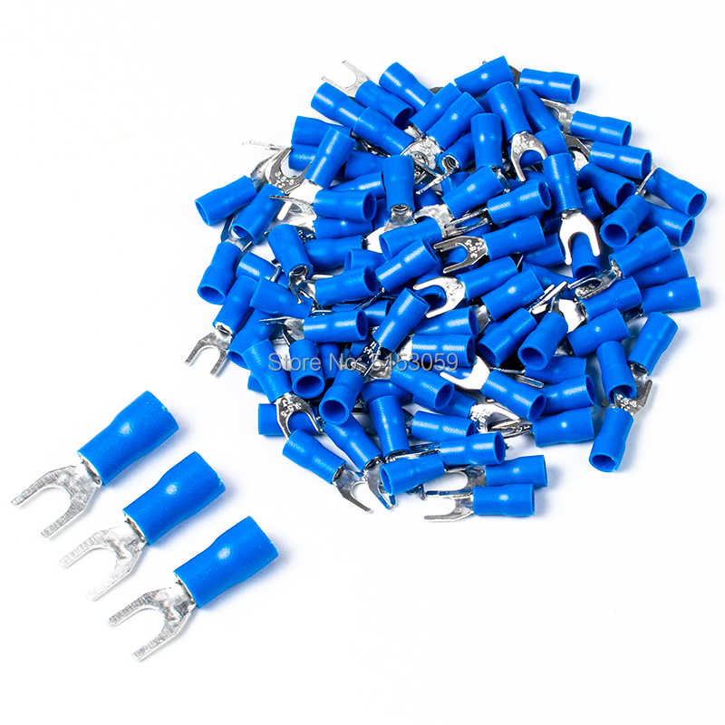 20PCS Fork Spade Wire Connector Electrical Crimp Terminal 14-16AWG 4mm new MECA