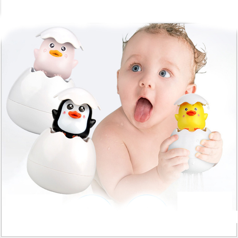Baby Shower Bath Toys Duckling Sprinkle Spray Baby Water Toy Cute Cartoon Animal Water Games Funny Penguin Egg Sprinkler Toys