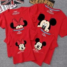Летние одинаковые комплекты для семьи футболка для детей и сына, мама папа семейная одежда Детские топы с Микки и Минни для фотосъемки
