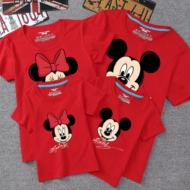 Summer Family Matching Outfits Mommy Daddy Kid Son Baby T-Shirt Shirts Family Clothes Child Mickey Minnie Tops Photography