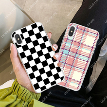 Plaid Phone Case For iPhone X XS Max XR 6 S 7 8 Plus 5S SE Soft Silicone Luxury Checkerboard Geometric Checkered Clear