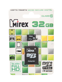 Memory card 32GB-mirex-micro Secure Digital HC class 10 13613-ad10sd32 with SD adapter (original!!!!!)