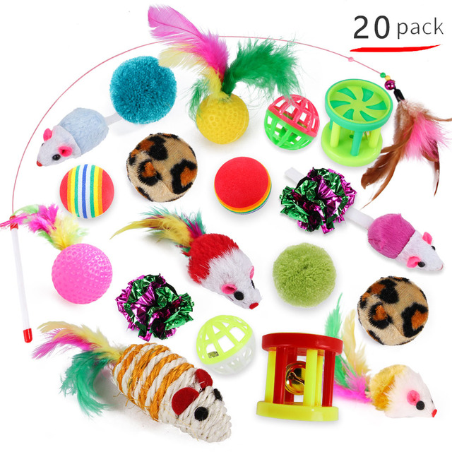 Kitten Toys Variety Pack Pet Cat Toy Combination Set Cat Toy Funny Cat Stick Sisal Mouse Bell Ball Cat Supplies 20/21 Piece Set