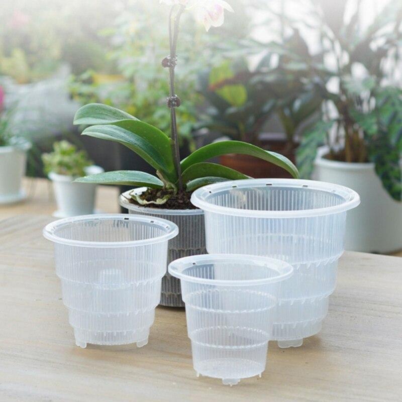 Plastic Clear Orchid Flower Mesh Holes Flower Pot Container Planter Home Gardening Decoration Succulent Plants Pot|Nursery Pots| - AliExpress