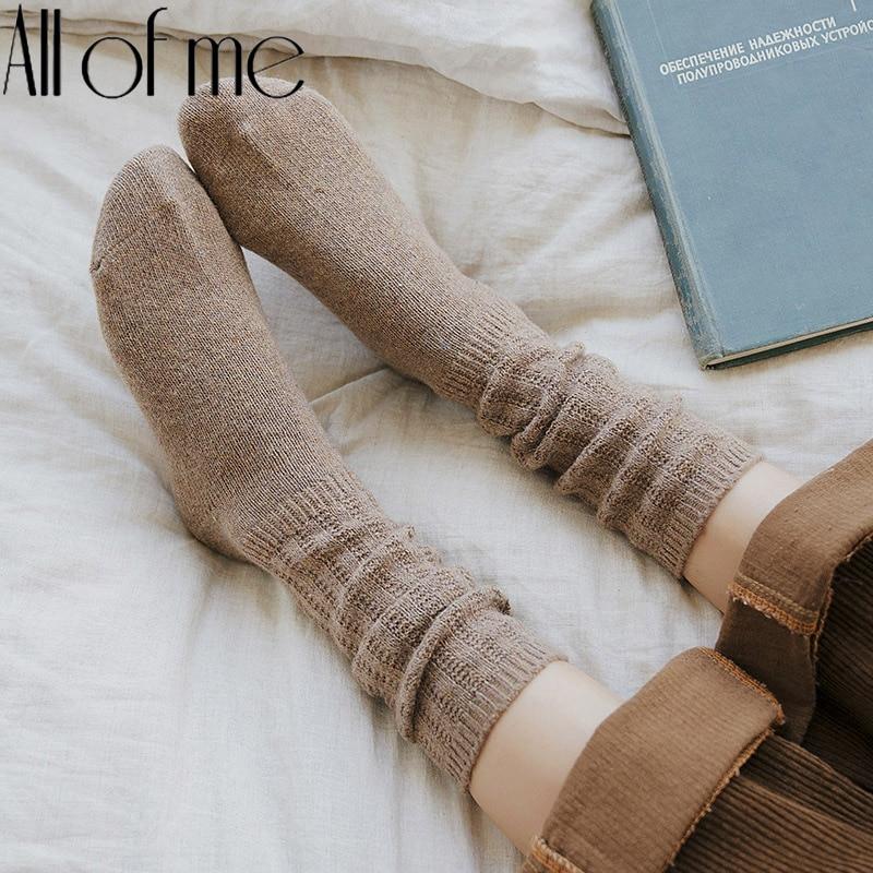 Harajuku Woll Frauen Socken Weiche Baumwolle Frauen Socken Einfarbig Hohe Rohr Socken Für Mädchen Winter Nette Dicken Stapel von socken Dame
