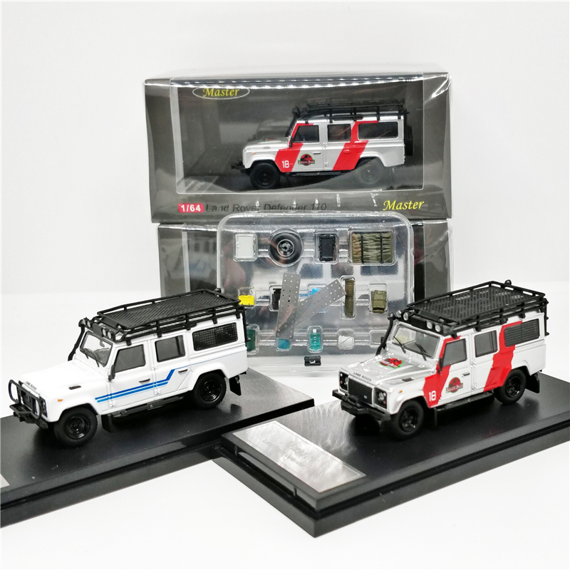 1/64 Master Land Rover Defender 110 Jurassic Park W/h Accessory Pack Diecast Model Car