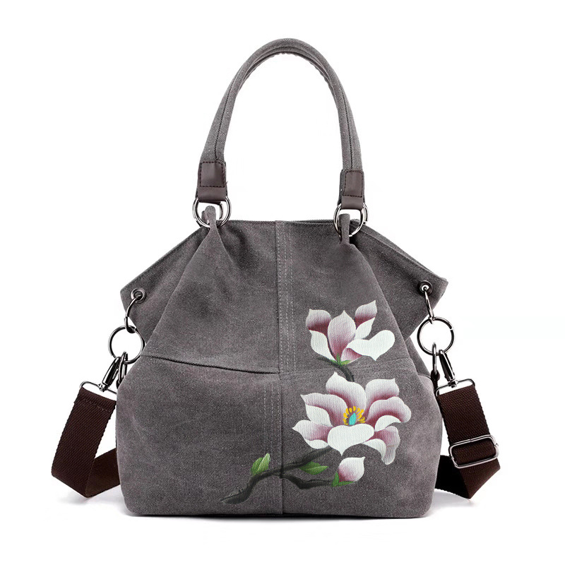 Ougger Women's Handbags Shoulder Bag Large Summer Gray Canvas Popular National Style Large Capacity Bag With Zipper For Shopping