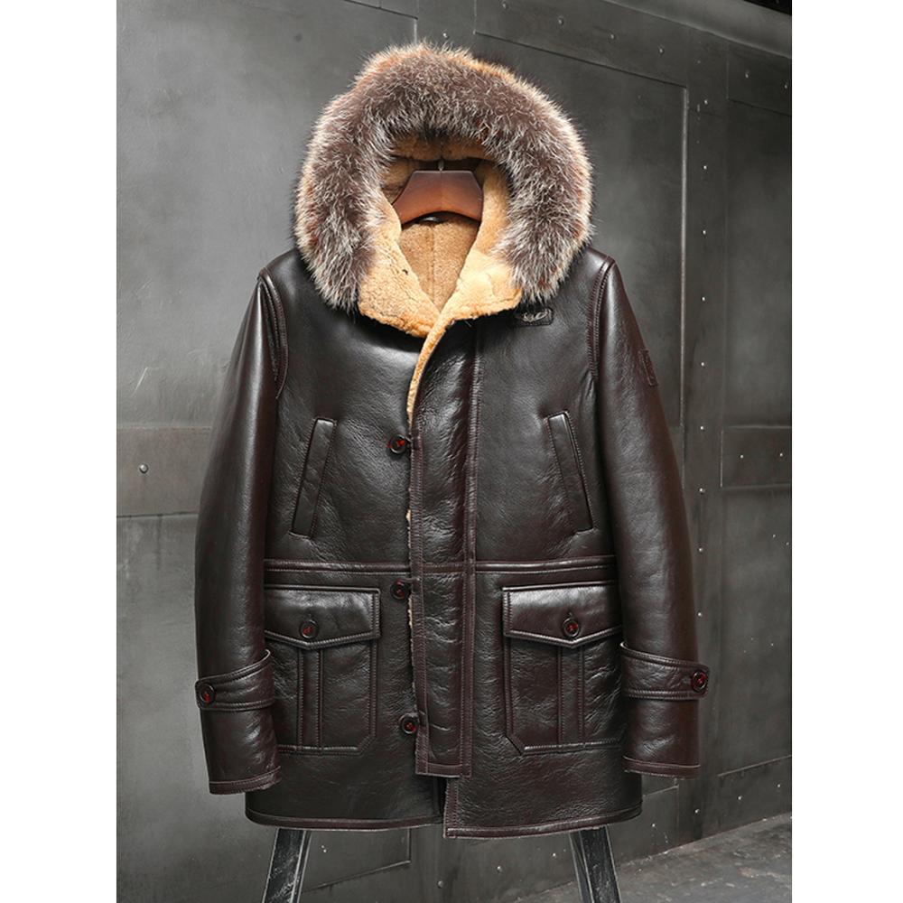 2019 New Shearling Coat Mens Brown B3 Bomber Jacket Hooded Leather Jacket Winter Coats Long Fur Jacket Mink Fur Collar Coat