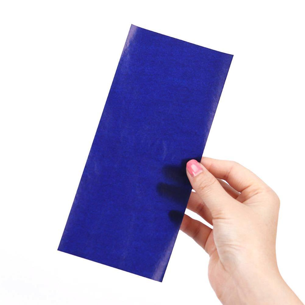 100pcs/box Blue Carbon Paper Blue Double Sided Thin 48k/32k/16k Paper Blue Paper Type Carbon Supplies Finance Transfer W3I6