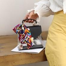 Clear Transparent PVC Shoulder Bag Women Candy Color Purses And Handbags Scarves