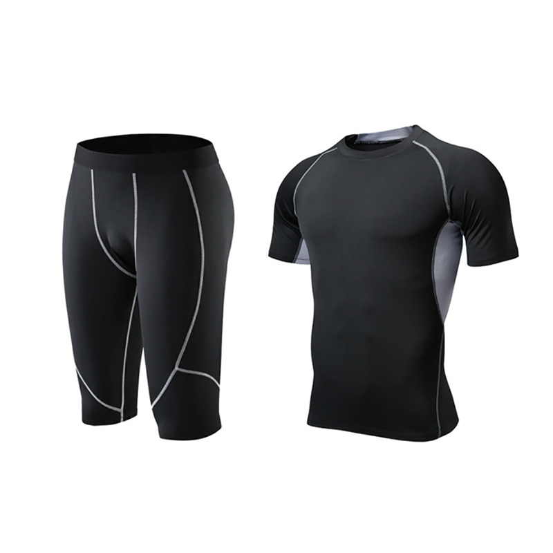 Men Elastic Fitness T-shirt Fast Drying Tops Short Pants Sports Tight Calf-length Trousers Shorts Set