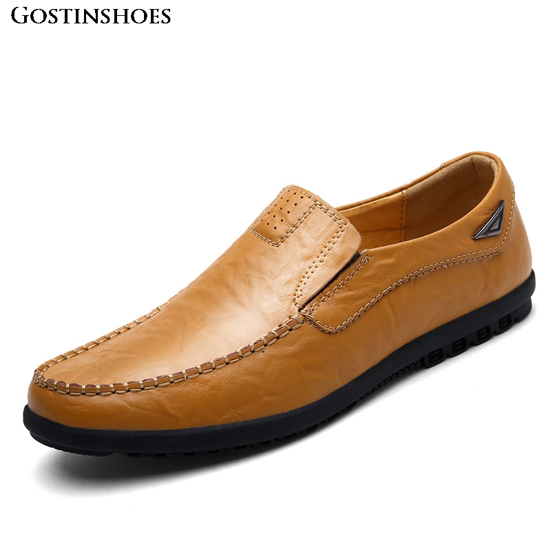 Luxury Driver Moccasins Genuine Leather Casual Shoes Men Sapato Black Brown Slip-on Loafers Hand Sewing Men Shoes Zapatos