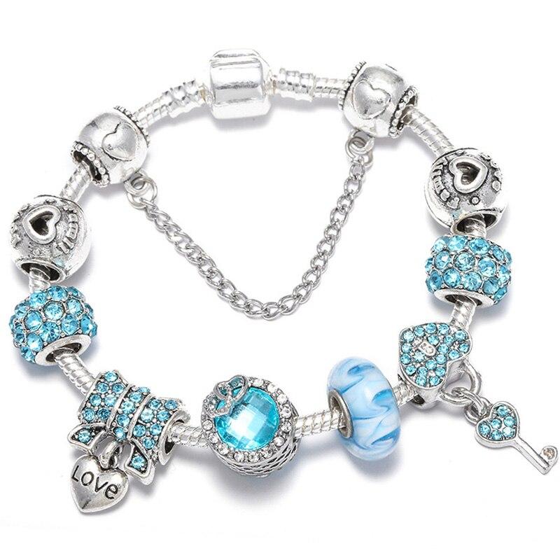 BAOPON Прямая поставка винтажные Подвески серебряного цвета браслеты для женщин DIY Кристальные бусины изящные браслеты для женщин Pulseira ювелирные изделия - Окраска металла: Type 29