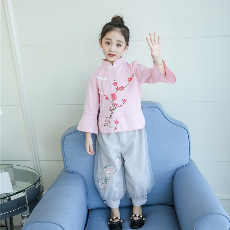 2018 Autumn New Style Girls The Republic Of China-Style Set Ethnic-Style Children Retro Chinese Clothing GIRL'S Ancient Costume
