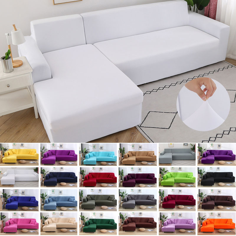 Cheap Streachable Sectional Couch Cover Cloth Diy Solid Color L Shape Elastic Slipcover Sofa Covers