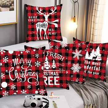45*45cm Christmas Cushion Cover Pillowcases lattice Printed Merry Christmas Santa Claus Home Decorative Throw Pillow Case Cover