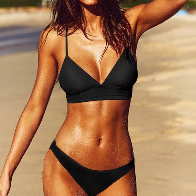 # Z40 couleur unie maillot de bain séparé femmes blanc et noir maillot de bain bikini pour femme mode Simple maillots de bain maillot de bain pour les femmes