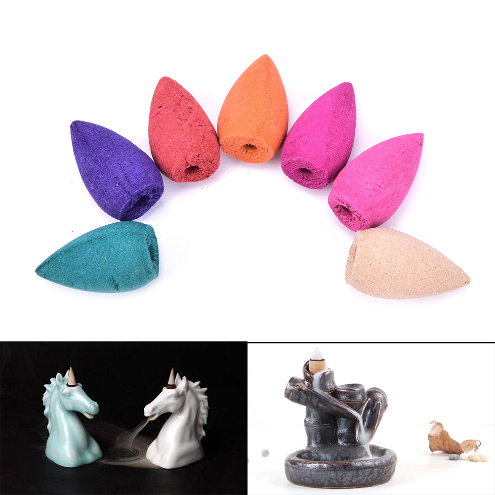 70Pcs/Box Tranditional Aromatherapy Cone Natural Smoke Tower Cones Bullet Backflow Incense Hollow Cone Jasmine Wholesale