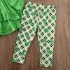 St Patricks Day Toddler Kids Baby Girl Outfits Set Ruffle Top Dress Clover Print Pants Legging Kids Clothes Spring Children Set 4