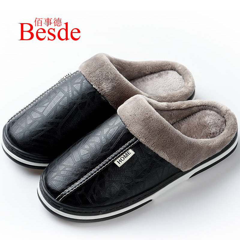 Fashion Leather Slippers Men Indoor Plush Slippers Plus Size 35-50 Free Shipping Warm House Slippers Male Home Shoes 2019