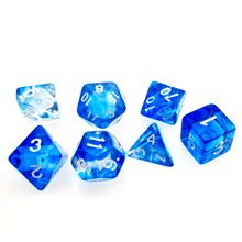 7PC Nebula Polyhedral RPG Würfel Gesetzt Scheinenden mit Blau swirl D4 D6 D8 D10 D % D12 & D20 für DND D & D Rollen Spiele