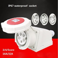 16A/32A 380V EU standard Three-phase four-wire power socket IP44 Waterproof Outdoor Industrial waterproof plug Ectrical Socket quality picks 1 pcs 380 415v industrial connectors 16a four hole three phase four wire power connector industrial cable