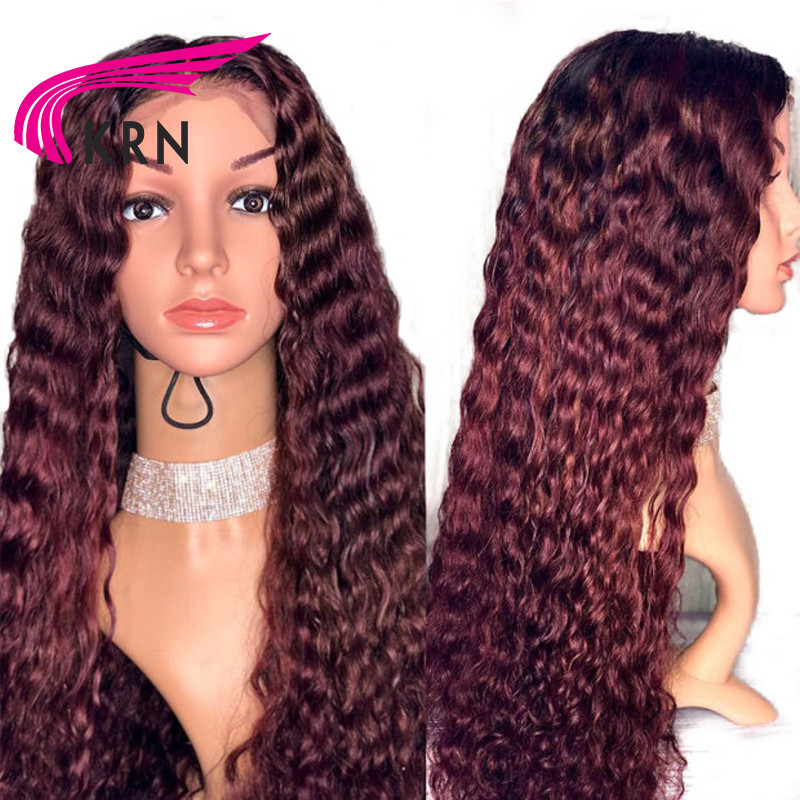 13*6 Deep Wave 99J Colored Lace Frontal Human Hair Wigs Black Women Deep Part Burgundy Lace Front Wig Pre Plucked Brazilian Remy