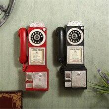 Винтажная модель телефона с классическим циферблатом, полимерная ретро-будка, статуэтка для телефона, украшение для дома, аксессуар для под...