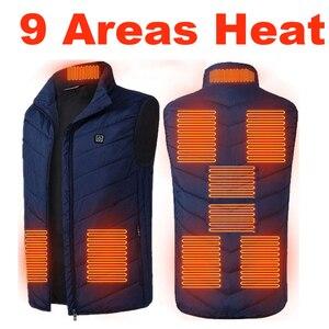 9 Areas Heated Vest Men Women Electric heated jacket Thermal Vest Jacket heating vest jacket men tactical vest veste chauffante