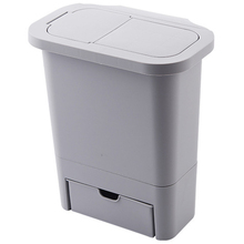 Kitchen Cabinet Door Hanging Trash Can with Lid Wall-Mounted Waste Baskets Push-Top Trash Garbage Bin Can Rubbish Container Grey office kitchen hanging garbage storage bucket rubbish box plastic trash can wall mounted waste trash bin mini desktop dustbin