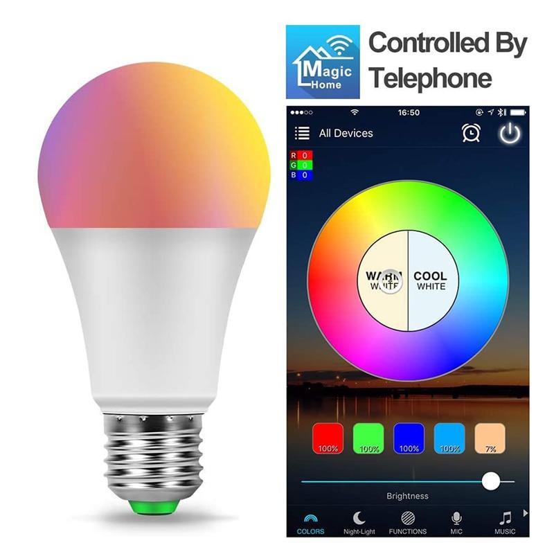Цветная (RGB) Светодиодная лампа E27 светодиодные лампы 9 Вт RGB Led Smart Magic ночные светильники лампы работать с Alexa/Google Home AC220V 110V RGBW с регулируемой я...