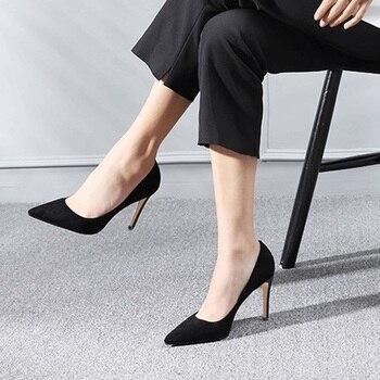 LOSLANDIFEN Sexy High Heels Woman Pumps 8 CM Fashion Pointed  Heel Women Shoes Elegant Black Red Job Wedding Pump Plus Size