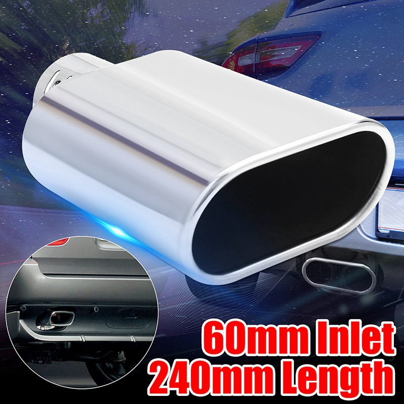 For BMW For Benz Universal Car Decoration Flat Chrome Stainless Steel Car Muffler Exhaust Tail Throat Liner Pipe 60Mm