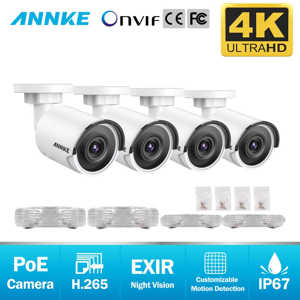ANNKE 4X Ultra HD 8MP POE IP Camera 4K Outdoor Indoor Waterproof Network Bullet EXIR Night Vision Email Alert Security CCTV Kit