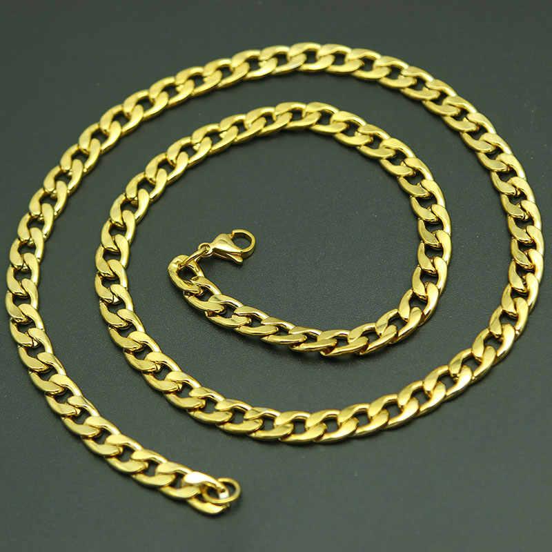 Silver GOLD Link Curb CHAIN ชายไทเทเนียมเหล็กสแตนเลส Figaro แบน O Link Chain, 3-9MM กว้างผู้หญิงขายส่ง