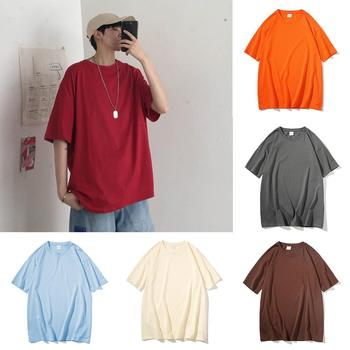 Plus Size t shirts Men Loose Casual Solid Color Short Sleeve Top Men Cotton O Neck tshirt Summer Men