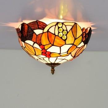 30cm American Pastoral Vintage Grape Colorful Glass Restaurant Bedroom Corridor Corridor Bathroom Glass Ceiling Lamp american pastoral rose three restaurant tiffany pendant lamp