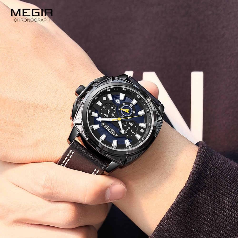 MEGIR nouveau Sport militaire montres hommes de luxe bracelet en cuir étanche montre à Quartz homme haut marque chronographe montre-bracelet 2128