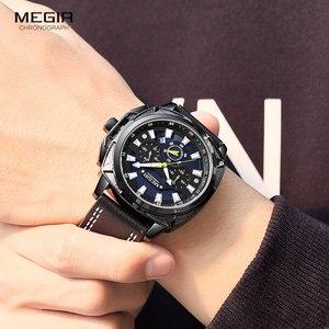 Image 4 - MEGIR yeni askeri spor saatler lüks deri kayış su geçirmez Quartz saat adam en iyi marka Chronograph kol saati 2128